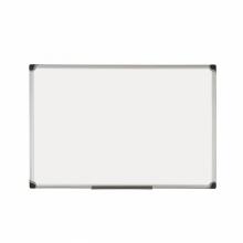 Бяла дъска 120 см х 180 см с меламиново покритие и алуминиева рамка.